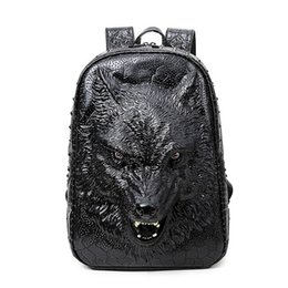 laptop american girl Coupons - Wholesale- 2017 new stylish backpacks 3D wolf head backpack special cool shoulder bags for teenage girls PU leather laptop school bags
