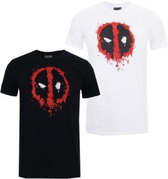 2019 peindre les hommes t-shirt Marvel - T-shirt Homme Deadpool Paint - Noir ou Blanc S-XXXL Tees Hommes Chaud Pas Cher Manche Courte Homme Hipster O-Cou Occasionnel peindre les hommes t-shirt pas cher