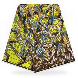 2019 tessuto di sequin giallo 6 yards sequin tessuto di pizzo cera Hollandais africano 2018 di alta qualità giallo sequin di cera Hollandais per le donne vestito 6 metri tessuto di sequin giallo economici