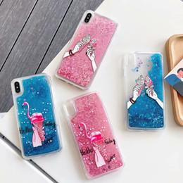 cassa del gelato per il iphone Sconti Custodia rigida in TPU morbida per blister Bling per Iphone XR XS MAX X 8 7 6 Flamingo Ice Cream Panada Dynamic Quicksand Custodia flottante per glitter magica
