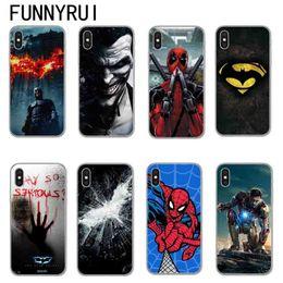 Canada Marvel Superheroes Batman SpiderMan Iron man Couverture souple en TPU en silicone pour iPhone X 8 7 6 6 s Plus Téléphone Samsung Cases Joker Deadpool Offre