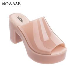 2019 melissa calça sapatos de salto alto Melissa Mule 2019 New Women Flat Sandals marca geléia de Melissa de salto alto sapatos para as mulheres Sandálias sólidos Feminino Jelly Sapatos Mulher melissa calça sapatos de salto alto barato