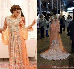 chiffon kleid kaftan abaya Rabatt Elegante Kaftan Abaya Arabisch Abendkleider Perlen Pailletten Applikationen Chiffon Lange Abendkleider Dubai Muslim Prom Kleider