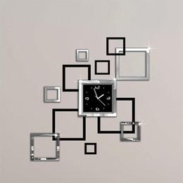 Novo relógio de parede de design on-line-New Hot Acrílico relógios de parede 3d etiqueta europa forma moderna de relógio de quartzo Design Preto Sliver Art Clocks frete grátis Wall Clocks