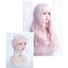 peluca lolita resistente al calor Rebajas Cosplaysalon Lolita 60 CM Largo rizado rosa Ombre Resistente al calor Bangs Partido lindo sintético cosplay peluca