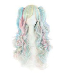 Парик для волос lolita ponytail онлайн-Парик бесплатная доставка 70 см длинные многоцветные красочные вьющиеся клип в хвостики лолита стиль косплей парики
