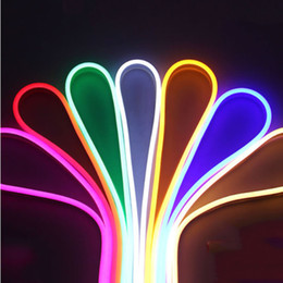 Luces de tubo plano led online-Luz de tira flexible LED 220 V SMD 3528 Tubo flexible LED de neón 120led IP67 Lámpara de cuerda resistente al agua Iluminación al aire libre
