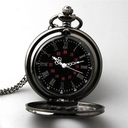 Colar antiga preta do relógio de bolso on-line-Antique Steampunk Vintage Retro Colar Quartz Pingente Pocket Watch Preto Novo