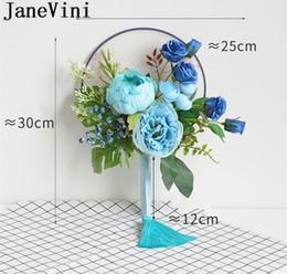 Fleur d'éventail bleue en Ligne-JaneVini Fan Bleu Main Style Chinois Couverture De Mariée Face Face Tenant Des Fleurs Bouquet De Mariée Rose De Mariée Bouquets De Fleurs De Mariage Fleur