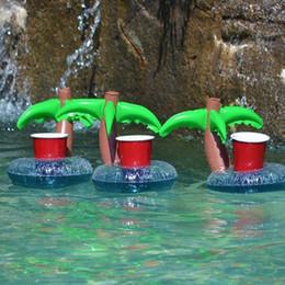 aqua matten Rabatt 20 teil / los Aufblasbare Kokospalme Getränkehalter Sitz Schwimmt Aufblasbare Tasse Getränke Boot Leichte Pool Beach Party Supplies