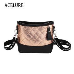 Мешочки с тотализатором онлайн-ACELURE Diamond решетки Pu кожа Crossbody сумки для женщин широкая полоса сумка для женщин All-матч дамы повседневная сумка