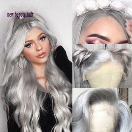 2019 calda de peruca de renda branca Alta qualidade 360 parte frontal livre prata Cinza peruca Resistente Ao Calor Corpo Ondulado Cosplay Perucas Dianteiras Do Laço Sintético para as mulheres brancas