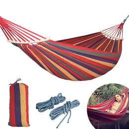 Argentina 250 * 150 cm 2 Personas Lienzo al aire libre Camping Hamaca Curva Palillo de madera estable Hamak Jardín Columpio Colgando Silla Hangmat Azul Rojo Suministro