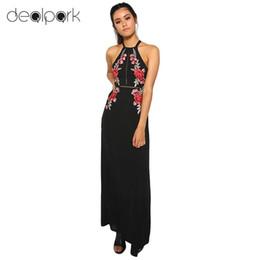 ccbcc90bdc3 2019 Sexy Halter Backless Embroidery Summer Dress Women Floral Beach Split  Long Elegant Maxi Dress Black Vestido De Festa D19011501