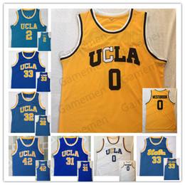 Camiseta de baloncesto ucla online-UCLA 0 Westbrook 2 Bola 33, Abdul-Jabbar 42 31 Amor Miller NCAA Men Basketball Jersey cosida Quailty superior
