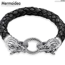 54ab833d974 Bracelet en cuir tissé Dragon avec la merde de printemps 2019 Nouvel argent  bijoux de mode cadeau Punk pour hommes garçon femmes filles