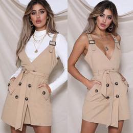Vestido de saia de escritório sexy on-line-M028 cáqui senhora do escritório do vintage sexy dress mulheres cinta ajustável faixa fivela dress lace up terno vestido trench Bib bolso cinto de saia