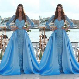 Ayrılabilir Tren Ile 2019 Sky Blue Mermaid Gelinlik Modelleri Uzun Kollu Dantel Aplikler Pullu Arapça Örgün Abiye giyim BC0638 nereden