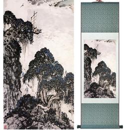 Landschaftsmalerei Home Office Dekoration Chinese Scroll Painting Berg- und FlussmalereiGedrucktes Gemälde050505 von Fabrikanten