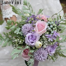 JaneVini Macaron Couleur Fleur Mariée Bouquet De Mariage Fleurs De Mariage Lavande Violet Blush Rose Roses Bouquets De Mariage Artificiels ? partir de fabricateur