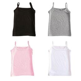 2019 camisetas de algodón para niñas Algodón Niñas Chaleco Niños Sólido Camisola Verano Bebé Singlet Niñas Camisetas Adolescente Tanque Niños Tops camisetas de algodón para niñas baratos