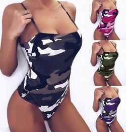 Una pieza de traje de baño correa online-Traje de baño de verano para mujer Traje de baño Camuflaje Correa Bodycon Traje de baño de una pieza Traje de baño de vacaciones Playa LJJK1384