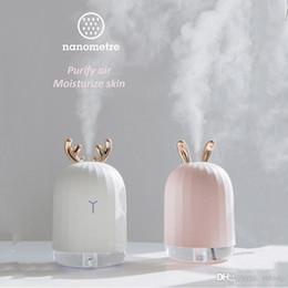 Humidificateurs roses en Ligne-White Deer Deer Pink 220ML Ultrasons Humidificateur d'air Aroma Diffuseur d'huile essentielle pour la voiture de la maison USB Brumisateur Mist avec LED lampe de nuit