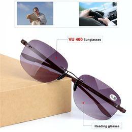 Toptan flattop bifokal HD-gri lensler okuma gözlükleri UV400 unisex çerçevesiz sportif sürüş bifokal güneş gözlüğü + 1.00 --- + 3.00 full outlet supplier wholesale rimless sunglasses nereden tomas rimless güneş gözlüğü tedarikçiler