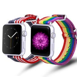 Yeni varış tuval iWatch band naylon nefes spor kayış bayrak bant gökkuşağı stripes apple apple watch 4 3 2 için apple kordonlu saat 1 nereden gökkuşağı spor saatleri tedarikçiler