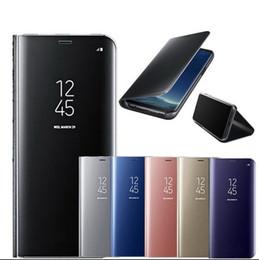 caso di flip della galassia di samsung Sconti Smart Mirror Flip Cassa del telefono per Samsung Galaxy S9 S8 S7 S6 Bordo Plus A3 A5 A7 J3 J5 J7 2017 Clear View Cover J6 A6 A8 Custodia