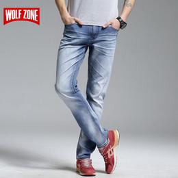 nuevo diseño de moda de marca pantalón Rebajas Top Fashion Brand New Design Jeans Hombres Stretch Denim Pantalones Hombre Zip Fly Biker Jean Hombre Pantalones largos Azul Longitud completa Mid