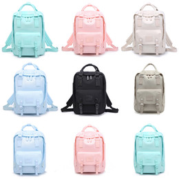 wholesale solid color backpacks Promo Codes - Student Solid Color Backpack Back To School Boy Girl Designer Stitching Zipper Backpack Candy 11 Color Vertical Square Leisure School Bag