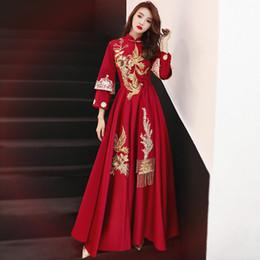 Vestidos de noche clásicos de china online-Bordado tradicional chino Vestido largo Cheongsam Vestidos Chinos Oriental Qipao Vestidos de noche Vestido de fiesta clásico Tamaño S-XXL