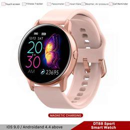 DT88 Smartwatch For Man Mulheres IP68 Esporte pedômetro Rastreador Blutooth relógio inteligente para Iso Android Samsung Huawei telefone PK R500 P68 de Fornecedores de aço inoxidável multi