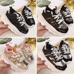 Nuevos zapatos de llegada para niños online-2020 nueva llegada Reacción en Cadena de zapatos casuales para niños Entrenadores Moda Negro Blanco Rosa deportes de los niños de diseño zapatillas de deporte casuales
