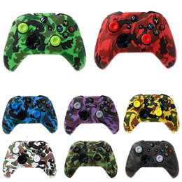 Xbox un controlador cubre online-Funda protectora de silicona Funda de protección de transferencia de agua Impresión de camuflaje Puños para XBox One X S Protector del controlador