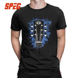2019 manche de guitare court Guitare Acoustique Oeil T-shirt pour Hommes Vêtements Manches Courtes Rétro T-Shirts Col Ras Du Cou T-shirt En Coton, Plus La Taille promotion manche de guitare court