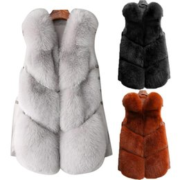 Лисийский мех онлайн-Fashion Faux  Fur Plush Vest Winter Female Short Type Trendy Fur Coat Padded Vest 2018 Brand New 2018 4 Colors