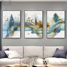 NORDIC abstrato dourado cervos tela de pintura Posters Wall Art Paisagem animal cervos e estampas modernas para Sala Decoração de Fornecedores de foto nua grátis