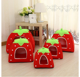 cestini per animali da compagnia Sconti Morbido Strawberry Leopard Pet Dog Cat House Tenda Kennel Alla inverno caldo cuscino carrello animale base Cave Pet Products accessori per la casa
