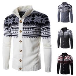 Puimentiua capa de suéter de punto de impresión de nieve de los hombres de la marca otoño masculino ocasional clásico solo botón de la ropa de suéter cardigan caliente desde fabricantes