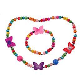 Комплект ювелирных изделий детей комплект онлайн-Free Shipping Fashion New Children Jewelry Sets For Girls Wooden Cute Lover Heart  Necklace Bracelet Jewelry Set Baby Gift
