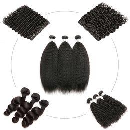 Cabelo brasileiro tece estilo on-line-Curly Weave Humano Pacotes Cabelo Mix Estilo Kinky Curly onda profunda da onda de água solta ondas Kinky em linha reta cabelo humano brasileiro peruana Malásia