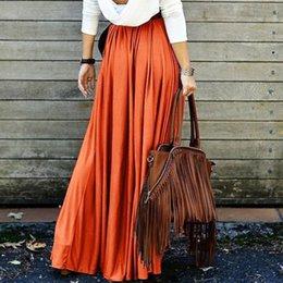 элегантное вино Скидка Женщины с высокой талией Pleat Элегантная юбка бордовый черный сплошной цвет длинные юбки Женщины Faldas Saia Большой размер Дамы Юп