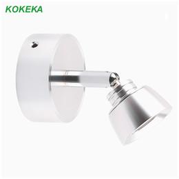 de aplique de 3W La lente Base Bead pared de aluminio lámpara de 360 pared la lectura del cuarto baño de la grados redonda lámpara gira Luz montada QrhtsdC