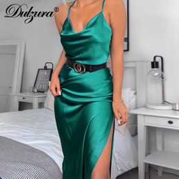 streetwear sexy clothing Promo Codes - Dulzura satin silk women midi dress strap side slit backless sexy streetwear 2019 autumn winter party clothes elegant dinner