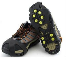 Crampi di gomma online-Ramponi alpinismo arrampicata Copriscarpe scarpette da ghiaccio Trazione Tacchette Punta di gomma Antiscivolo Sci Neve Escursionismo Scarpette da arrampicata Picchette Scarpe