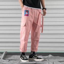 Rosa calças homens on-line-Carga Harem Calças Rosa Dos Homens Casuais Corredores Baggy RIBBON Tactical Calças Harajuku Streetwear Hip Hop Calças Dos Homens