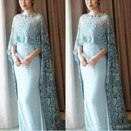 mães estilo vestidos Desconto 2019 New Light Blue Lace Cape Style Mãe Da Noiva Vestidos de Chiffon Até O Chão Prom Dress Custom Made Vestidos de Noite Vestidos