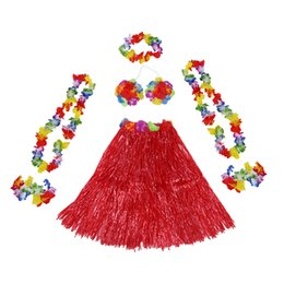 traje hawaiano de hula Rebajas 6 Set Falda de hierba hawaiana flor Hula Lei Wristband Garland disfraces